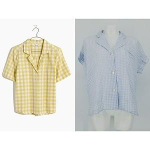 Madewell Boxy Camp Shirt in Gingham Check Top